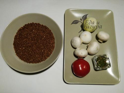 гречка с грибами и овощами фото ингредиентов